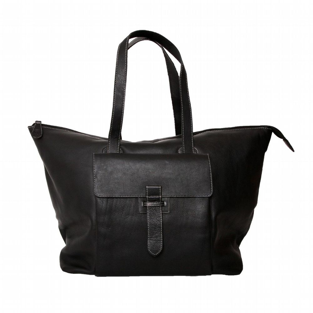 Retro Leather Travel Bag - Black